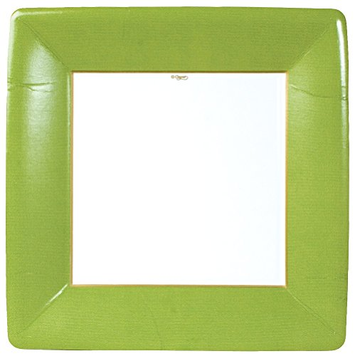Entertaining with Caspari Grosgrain Border Square Dinner Plates, Moss Green, 8-Pack