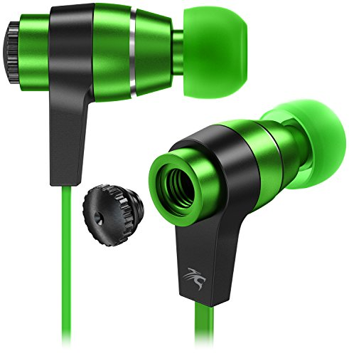 Sentey Green Earbuds Earphones In ear Headphones headset Inline Control and Microphone Metal Audiophile for Music Running Travel Carrying Case Included Tangle Free Cable Oryon LS-4218 Kids Men Girls