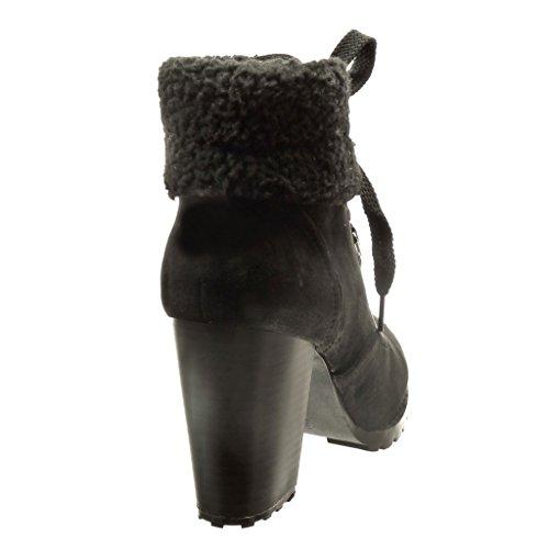 Angkorly - Chaussure Mode Bottine rangers femme fourrure Talon haut bloc 9 CM - Intérieur Fourrée - Noir