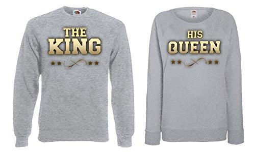 """TRVPPY Partner Herren + Damen Pullover Sweater / Modell """"The King Vorne & His Queen Vorne"""" / in vielen versch. Farben Gold-Grau"""