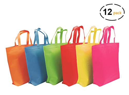 YoungZee Reusable  Party Gift Tote Bags Rainbow Colors with Handles for Birthday Favors, Snacks, Decoration, Arts & Crafts, Event Supplies, Colorful,12 Bags]()