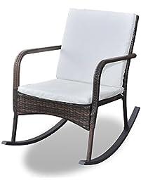 Festnight Outdoor Garden Rocking Chair, Rattan Patio Rocker Gliders With  Cushions