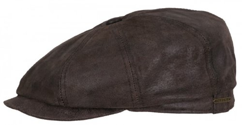 Stetson Hatteras Distressed Leather Newsboy Cap (Large (58-59cm))