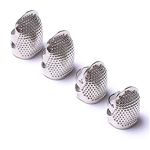 AXEN 4 Pieces Sewing Thimble, Metal Silver Sewing Thimble Finger Protector, Accessories DIY Sewing Tool, Two Size 4 Pieces