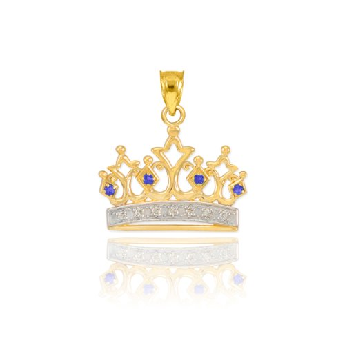 Dainty 10k Yellow Gold Blue Sapphire and Diamond Tiara Charm Crown Necklace Pendant