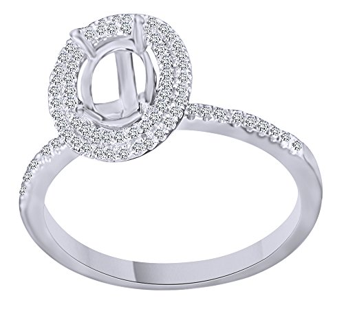 - AFFY 5X7mm Round Cut Semi Mount Natural Diamond Solitaire Engagement Ring in 14K Solid White Gold