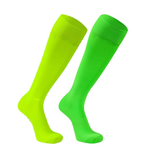 Cushion Soccer Socks, FOOTPLUS Mens and Womens Long Tube Winter Warm Solid Skiing Team Football Knee High Athletic Socks 2 Pairs Fluorescent Yellow&Fluorescent Green, (Fluorescent Yellow Green)