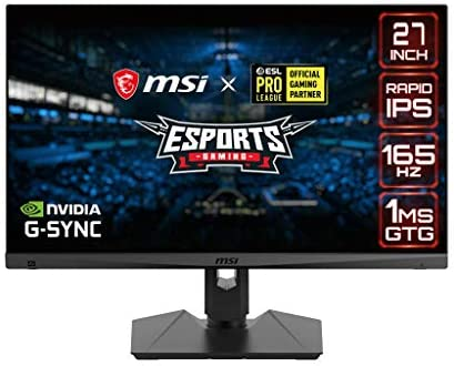 """MSI QHD Rapid-IPS Gaming Non-Glare Super Narrow Bezel 1ms 2560 x 1440 165Hz Refresh Rate Adjustable Arm G-Sync Compatible 27"""" Gaming Monitor (Optix MAG274QRF), Black"""