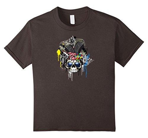 Kids 80's Style Skull Sunglasses Music Speakers T Shirt 6 Asphalt