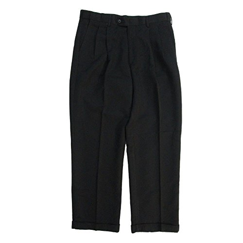 Savane Microfiber Pants - Savane Men's Dress Pants No Iron Microfiber Performance Comfort Waist Black (40X30)