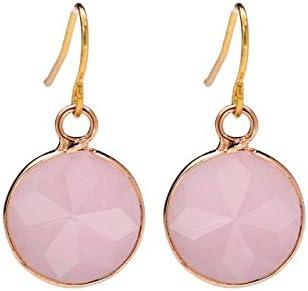 hanessa de mujer joyas Edle Pendientes de anillos Natural de piedras color rosa redondo colgante regalo para la Mujer EHE de/Freundin/mujeres