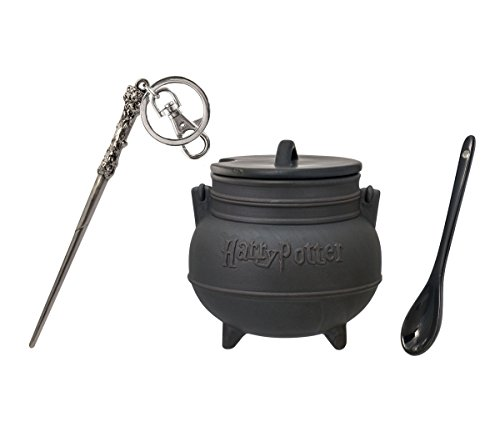 (Mozlly Value Pack - Harry Potter Black Cauldron Ceramic Soup Mug with Spoon (3pc Set) AND Harrys Wand Pewter Key Chain - Novelty Character Accessories - Item #K124014-124010)