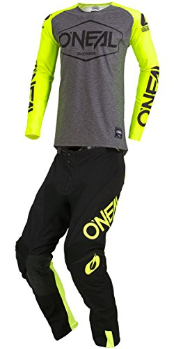Hexx (Youth HI-VIS Yellow Y-Medium/Y-26W) MX Riding Gear Combo Set, Motocross Off-Road Dirt Bike Jersey & Pant ()