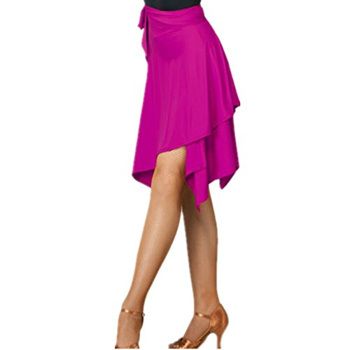 YOUMU Women Latin Salsa Tango Dance Skirt Dress Skate Wrap Scarf Dancewear Swing Rumba ChaCha Ballroom Costume Rose Red ()