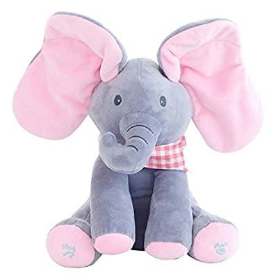 Peek A Boo Elephant Plush Toys, Hide Seek Play with Music for Baby and Kids