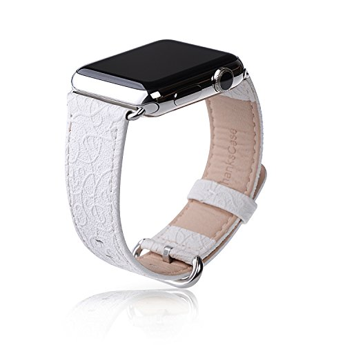 Apple Watch Band,Thankscase 38mm Genuine Leather Strap Wrist Band Replacement,Top quality Metal Clasp for Apple Watch Nike+, Series 3, Series 2, Series 1, Sport, Edition (Snow White)