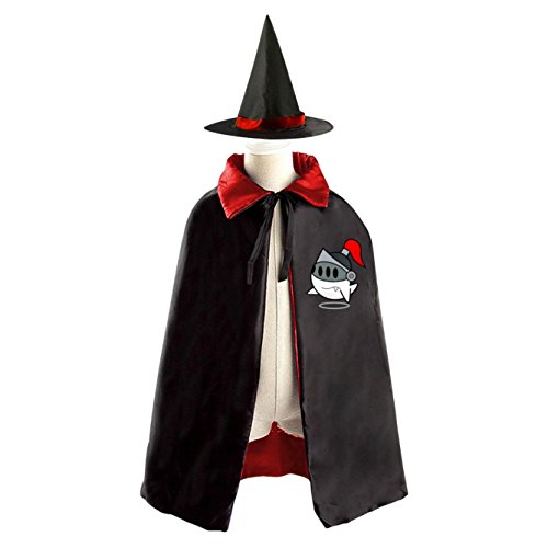 [Cute Ghost Magic Halloween Witch Hat and Cloak for Kids Red] (Soldier Homemade Costume)