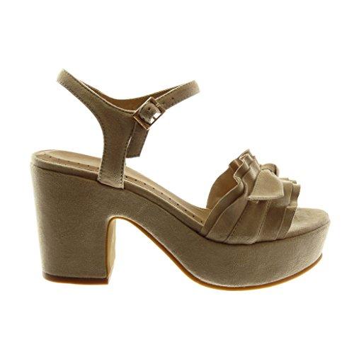 Angkorly Damen Schuhe Sandalen Pumpe - Knöchelriemen - Plateauschuhe - mit Rüschen - Knoten - Schleife Blockabsatz High Heel 8.5 cm Beige