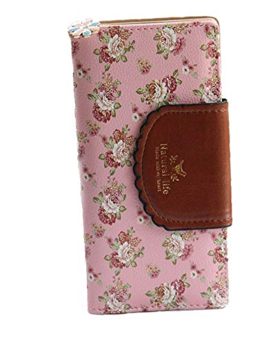 SeptCity Womens Wallet Cute Floral Soft Leather Clutch Gift for Her, - Elite Flowers Pink Medium