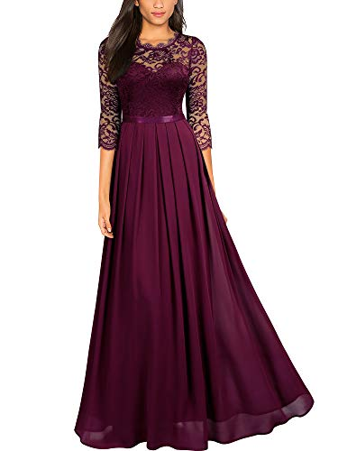 Miusol Women's Formal Floral Lace Wedding Bridesmaid Maxi Dress (Small, A-Magenta)