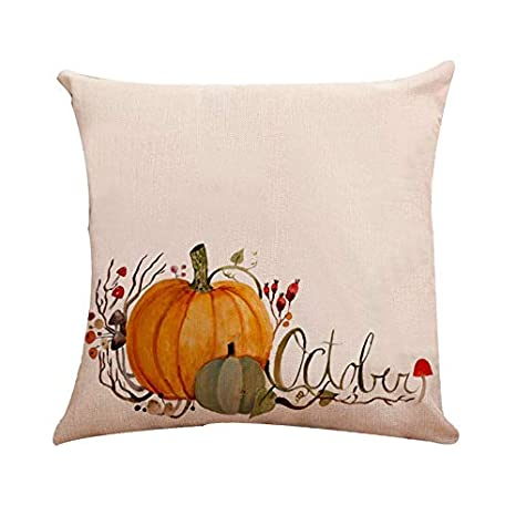 Halloween Pillow Pumpkin Square Pillow Cover Cushion Case Pillowcase Zipper Closure Farmhouse Decorative(A)