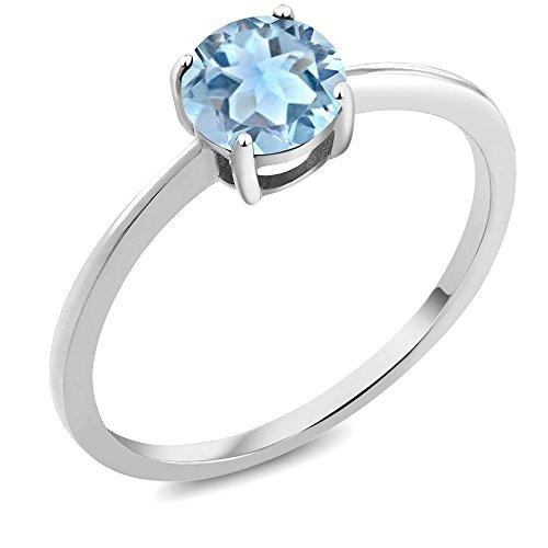 10K White Gold Engagement Promise Ring 0.75 Ct Round Sky Blue Aquamarine by Gem Stone King