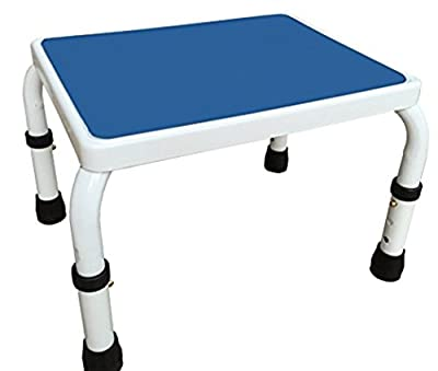 AdjustaStep Height Adjustable Step Stool- All Steel Construction, Anti-Slip Foot Pads and Platform. Modern White and Blue Finish