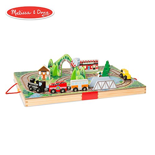 Town Wooden Toy Train Set - Melissa & Doug Take-Along Railroad (Portable Tabletop Set, 3 Train Cars, 17 Pieces)