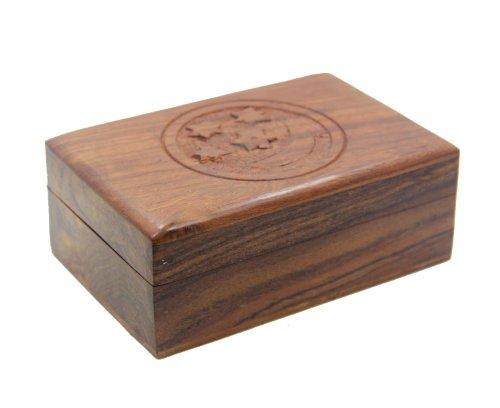 "Wooden Storage Box ~ Hand Carved Star & Moon ~ 4""x 6"""