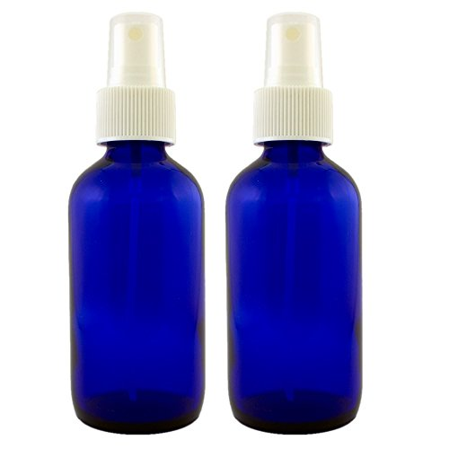 Blue Glass Spray Misters - 2 Bottles - 4oz Refillable Bottle is Great for Essential Oils, Organic Beauty Products, Homemade Cleaners and Aromatherapy with a White Fine Mist Dispenser