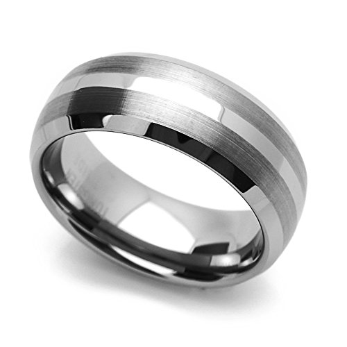 (Double Accent 8MM Comfort Fit Tungsten Carbide Wedding Band Brushed Stripe Domed Ring (7 to 14), 10)