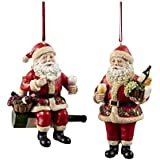 Kurt Adler Resin Wine Santa Ornament , 4.5-Inch