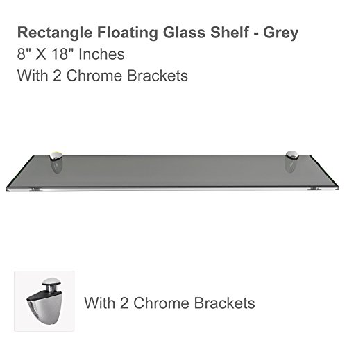 "Fab Glass and Mirror Rectangle Glass Shelf, 8"" X 18"", Grey"