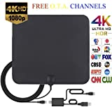 G2S Ultra Thin 50-80 Miles Long Range Indoor/Outdoor Flat Digital HDTV Antenna, Detachable