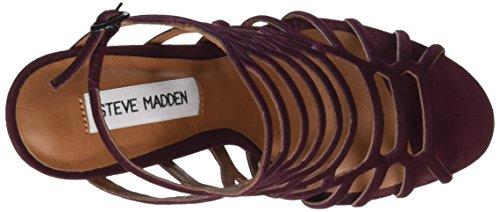 Steve Madden Slithur Sandal, Sandalias de Punta Descubierta para Mujer Rojo (Burgundy)