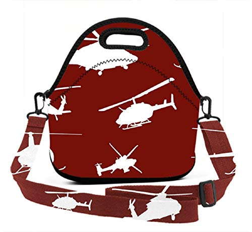 Neoprene Lunch Tote - Unique Design Helicopter - Reusable Insulated Thermal Lunch Bag Waterproof Lunch Box Carry Case Handbags with Zipper for School/Office/Travel/Gym