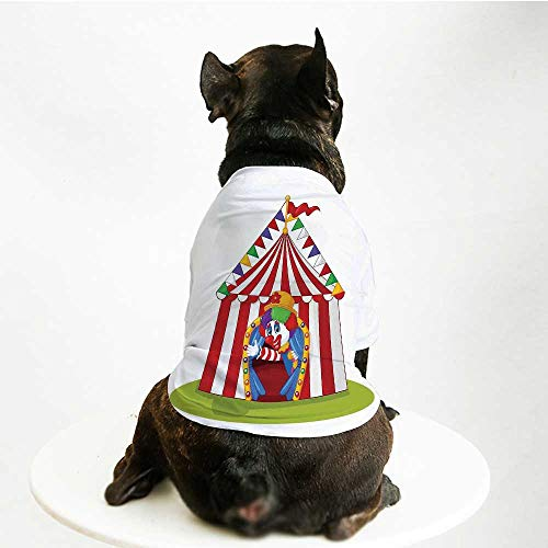 YOLIYANA Circus Decor Printing Pet Suit,Illustration of Cartoon Clown Come Out from Circus Tent Smile Joker Enjoy for Small Dog Teddy Chihuahua Bichon,S - Tent Virginia
