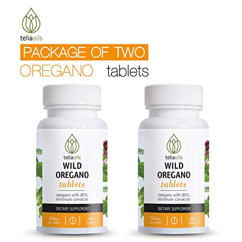 Teliaoils Wild Oregano Oil Tablets - Super Strength 300mg Organic Greek Oregano Tablets with Over 85% Carvacrol for Strong Immune System & Digestive Health- Excellent Antioxidant Action- 120 Tablets ()