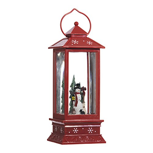 Lighted Snow Globe Lantern: 11 Inch, Red Holiday Water La...