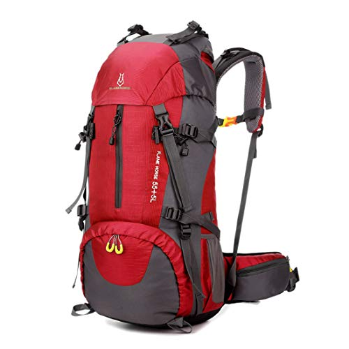 Aqiuni Outdoor Climbing Bag Shoulders Men and Women 60L Large Capacity Backpack Nylon Waterproof Travel Bag (Color : Red) ()