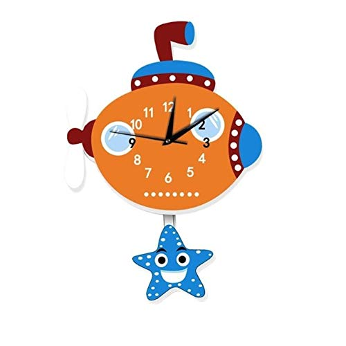(Calap Store - Cartoon Wall Clock American Fire Engine Shape Slient Wall Hanging Clock for Children Kids Bedroom Decor Home Decoration)