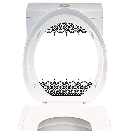 Qianhe-Home Mehndi Style Henna - Inodoro de baño con impresión temática árabe en el Oriente Medio, diseño marroquí,...