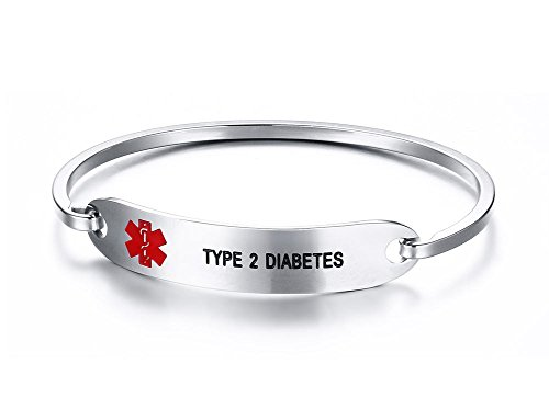 VNOX TYPE 2 DIABETES Bracelet Stainless Steel Medical Alert ID Bangle Bracelet 7.5'