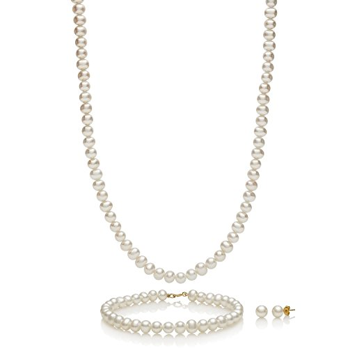 14k Yellow Gold Cultured Freshwater Pearl Necklace Bracelet Stud Earring Jewelry Gift Set,18'' by Pearlzzz