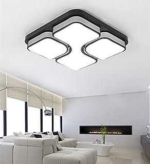 ETiME 24W Design LED Deckenlampe Led Deckenleuchte Wohnzimmer Lampe Schlafzimmer Kuche Leuchte 6000K Schwarz Quadratform