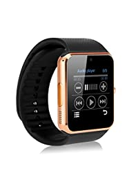 Zomtop Bluetooth Smart Watch with Camera Cell Phone Touch Screen Wristwatch Phone Mate for Android Samsung HTC Sony Lg and Iphone 6plus Smartphone(Gold+Black)