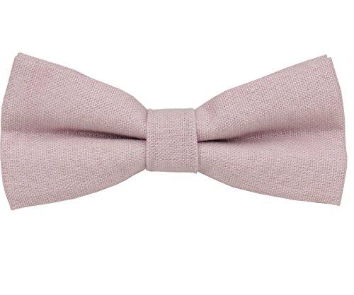 (Mens Charm Solid Linen Bowtie - Various Colors (Dusty Rose) )