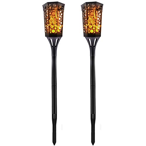 Komoon Solar Lights Tiki Torches Flickering Flame Outdoor Spotlight for Landscape Decoration Auto On/Off Dusk to Dawn Waterproof Lighting for Christmas Halloween Party Patio Garden Pathway 2 Pack]()