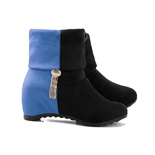 Allhqfashion Women's Low-Top Assorted Color Pull-On Round Closed Toe High-Heels Boots Blue 0RII1mRGRZ