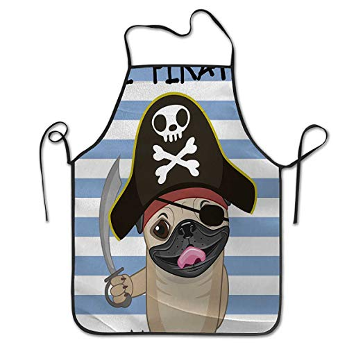 Lil Angel Bib - Chef Cooking Cook Apron Bib 2019 Pirate Buccaneer Dog in Cartoon Style Costume Lil Pirate Striped Backdrop Funny AnimalGive You Services Multicolor
